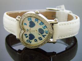 Swiss movt Aqua Master watch lady style 0.50ct diamond three heart white... - $143.55