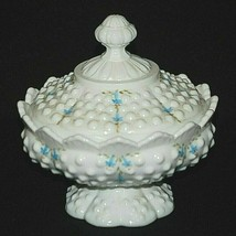Fenton Rare Bluebells Art Milk Glass Hobnail Dotted Covered Candy Dish B... - $148.49