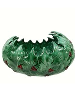 """Vintage Christmas Holly Bowl Large 11"""" x 6"""" Green Oval Dish Ceramic Signed - $39.59"""