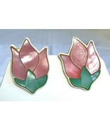 Vintage Lee Sands Mop Abalone Inlaid Shell Tulip Flower post Earrings - $32.48 CAD