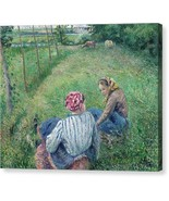 Young Peasant Girls Resting in the Fields near Pontoise 1882 Camille Pis... - $91.63+