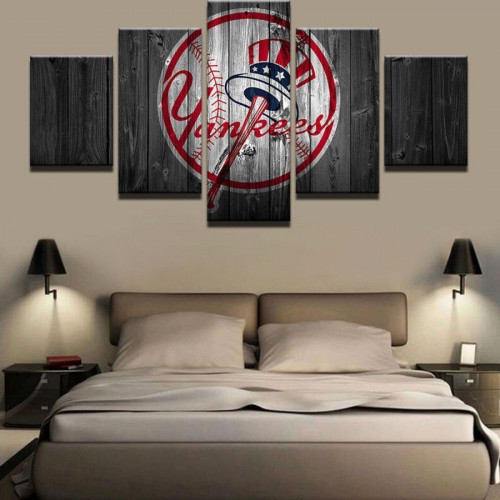 New York Yankees Home Decor: Framed 5 Pcs New York Yankees Canvas Print Painting Wall