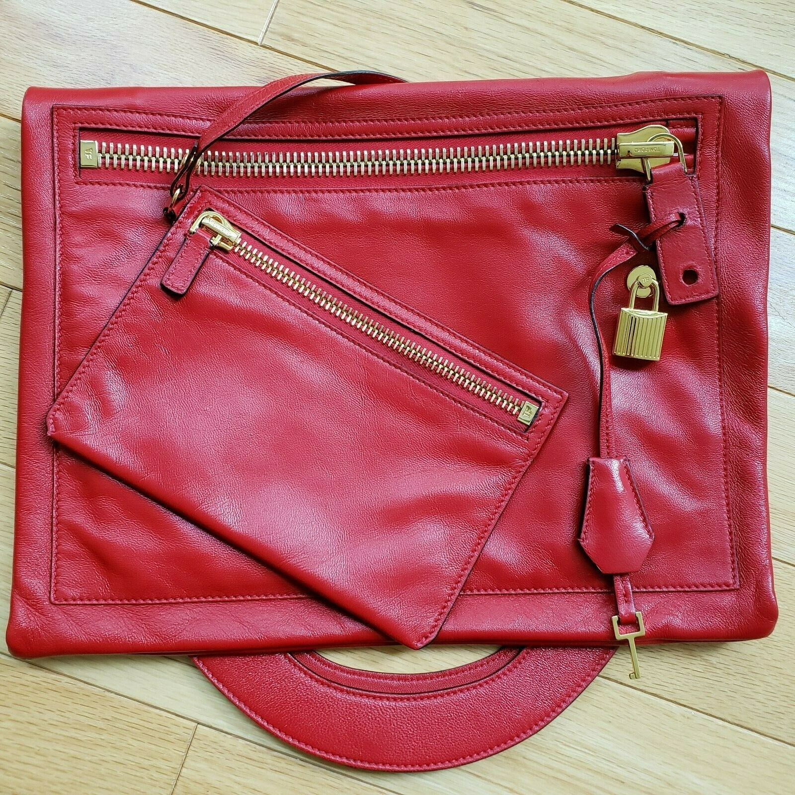 NEW $1990 Tom Ford Gucci Lambskin Alexia Bag Convertible Clutch Made in Italy
