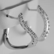 18K WHITE GOLD CIRCLE ONDULATE EARRINGS DIAMOND DIAMONDS 0.20 CT MADE IN ITALY image 2