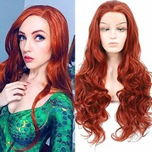 HUA MIAN LI Copper Red Lace Front Long Wavy Wig for Women Middle Part Wi... - $29.93