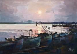 Original oil painting sea sunset boats seascape... - $180.00