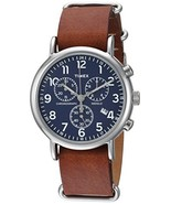 Unisex TW2R63200 Weekender Chrono Brown Double-Layered Leather Slip - $69.38