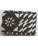 VINTAGE WOODEN HAND CURVED FABRIC PRINTING TEXTILE WOODEN BLOCK. - $22.91