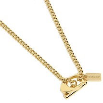 NWT COACH Boxed Signature C Toggle Necklace Plated Metal Gold Jewelry F9... - $77.22