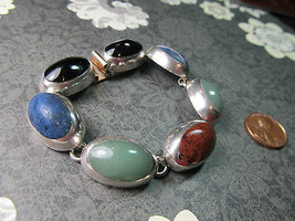"Vintage Signed MEXICO Sterling Silver 7"" Bracelet 47.5 Grams Multi Color... - $74.20"