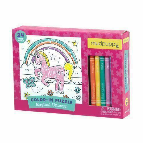 """Mudpuppy Mágico Unicorn Ceras Color-In 24 Pieza 7"""" Puzle Juguete Edad 3+ Nip"""