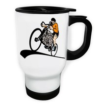 New Cyclist Bicycle With V8 Car Engine White/Steel Travel 14oz Mug h714t - $17.79