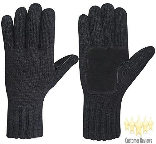 Men Winter Gloves Warm Wool Knitted Mittens Cold Weather Gloves for Men's Black