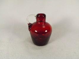 "Vtg. Miniature Hand Blown Jug Crackle Glass Ruby 3 5/8"" Applied Handle A... - $14.95"