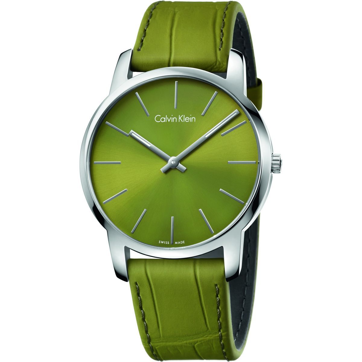 Primary image for Calvin Klein K2G211WL City Swiss Made Green Dial Men's Leather Watch