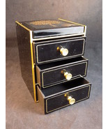 VINTAGE 3 DRAWER JEWELRY BOX Ornate Partridge and Pear Tree w/ mirrored lid - $24.53