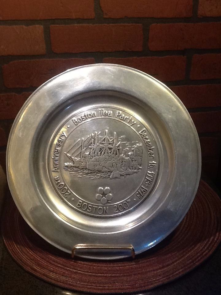 Primary image for Boston Tea Party 200TH Anniversary Pewter Plate by Wilton Armetale - 11""