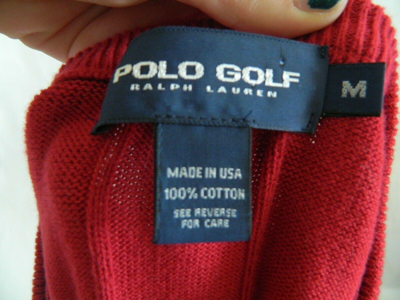 Polo Golf Ralph Lauren Mens Red 100% Cotton Sweater Vest Blue Pony Size M USA! image 3