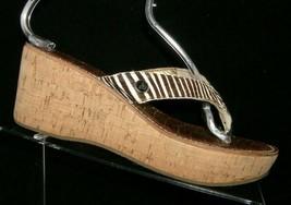 Sam Edelman Romy zebra print faux fur slip on thong cork platform wedges 8M - $23.95