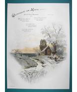 CHRISTMAS Winter Lake Shore Church Romantic Scene   - COLOR VICTORIAN Er... - $12.15