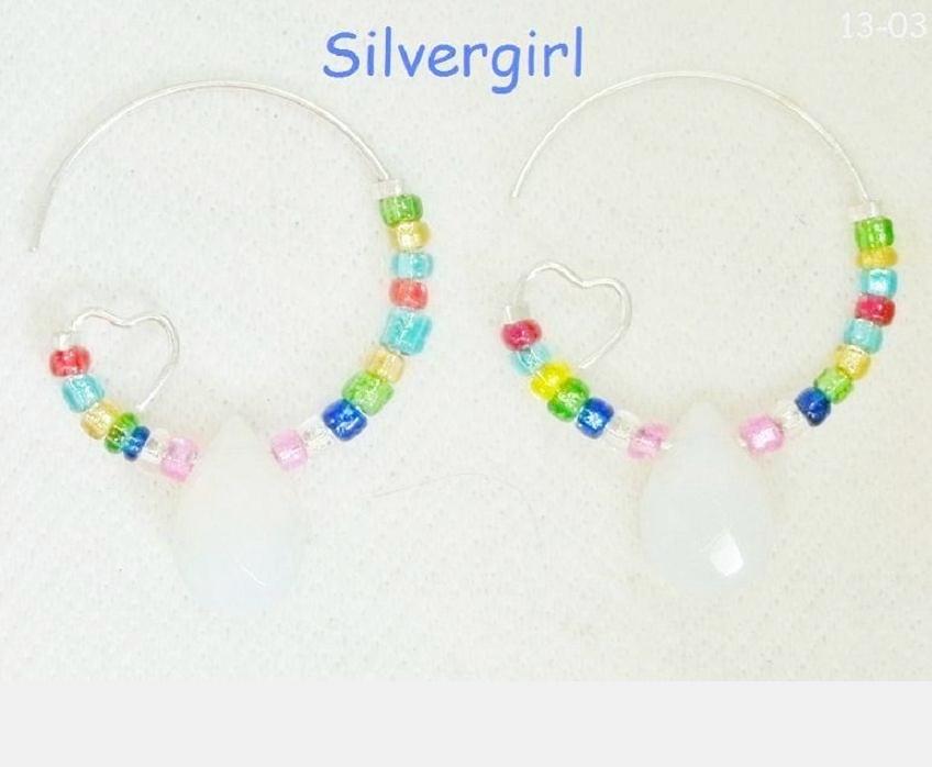 Moonstone Rainbow Glass Heart Silver Plate Hoop