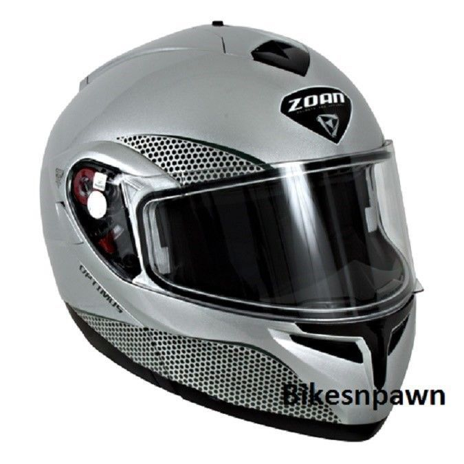 New XS Zoan Optimus Gloss Silver Modular Motorcycle Helmet 038-023