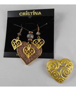 Vintage 1995 Cristina Designed Earrings Necklace Brooch Pin Gold & Resin... - $26.99