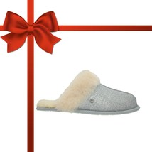 UGG Scuffette II Womens Sparkle Sheepskin Slippers Silver NEW AUTHENTIC - $71.99