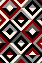 JEWEL 3D Effect Hand Carved Modern Contemporary Abstract 5X8 5x7 Rug 11302 Red G - $119.00