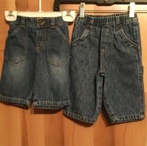 Two Pair Cherokee Boys Sz 6 Month Blue Denim Jeans Dark Wash Distressed ... - $6.89