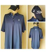 Peter Millar Men's Golf Shirt Dark Blue Short Sleeve Polo & Titleist Hat... - $85.55