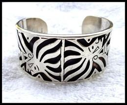 Sterling Silver Taxco Mexico Aztec Design Cutout Cuff Bracelet  - $200.00
