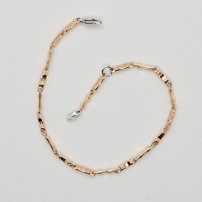 18k ROSE PINK & WHITE  GOLD BRACELET YOUTH KIDS WITH TUBE 6.7 IN  MADE IN ITALY