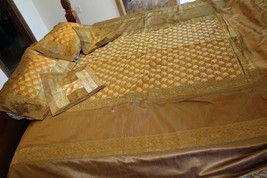 Silk Bed Spread Set Lucky Elephant Gold yellow with Decorative pillow cases - $74.25