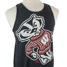 Adidas Wisconsin Badgers Bucky Tank T-Shirt Medium Black Sleeveless Dist... - $18.99