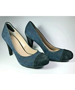 Franco Sarto Willa Womens Shoes 8.5 M High Heel Shoes Blue & Black Suede  - $35.63