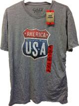 Amérique Maison De le Brave USA Homme Gris T-Shirt Itinéraire Signe Nwt