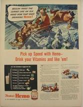 1944 Borden's Dairy Ad Elsie Beulah & Elmer Snow Sledding Winter Artwork - $9.99