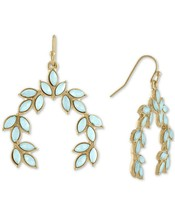 Rachel Roy Gold-Tone Colored Stone Leaf Drop Dangle Earrings NEW