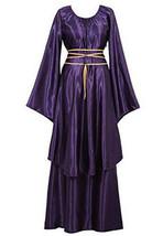 Womens Renaissance Gown Costume Medieval 2XL Dress Purple Brocade Satin - $62.09