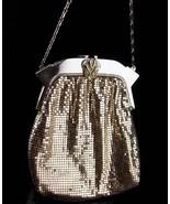 SIlver Flapper purse / vintage Whiting & Davis mesh purse / rhinestone c... - $145.00