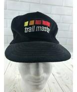 Vintage Trail Master Baseball Snapback Black Corduroy Hat - $17.81