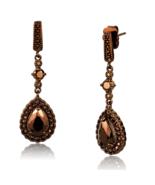 Women's Brass CZ Brown Light Coffee Pear 10,6 mm Dangle & Drop Earrings - $27.30