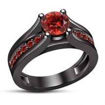 Round Cut Red Garnet Black Gold Plated 925 Silver Solitaire With Accents  Ring - $74.99