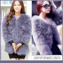Long Sleeve Plush Long Hair Feather Ostrich Fur Short Waist or Hip Length Coat