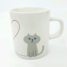 Cute Cat Mug Yuka Saji Miranda Oh My Cat Japan 8oz Gray Blue Bird Tea Cu... - $6.79