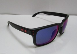 Oakley Sunglasses HOLBROOK 9102-36 MATTE BLACK / RED IRIDIUM MIRRORED NEW - £64.56 GBP