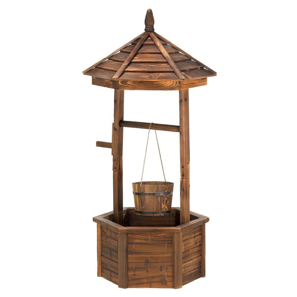 Cute Planter, Wishing Well Garden Outdoor Decorative Rustic Standing Planter
