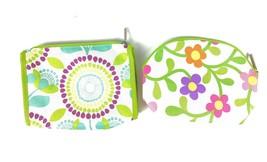 CLINIQUE Lot 2 Cosmetic Cases Floral Multi-colors Zipper Closes NEW - $5.28