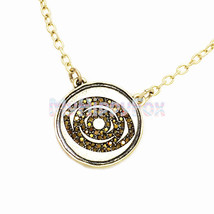 Lucky Brand Antiqued Gold Tone Shiny Pave Stone Evil Eye Disc Pendant Ne... - $17.99